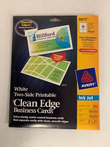 Avery Ink Jet Clean Edge Business Cards Matte Coated White 8871 200 Cards New