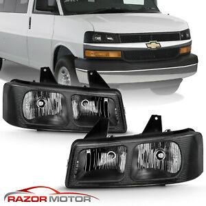 For 2003 2017 Chevy Express Gmc Sanava 1500 2500 3500 Van Black Headlight Set