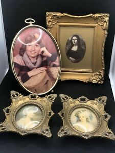 Lot Of 3 Small Vintage Ornate Oval Convex Glass Gold Frames Pair And Mona Lisa