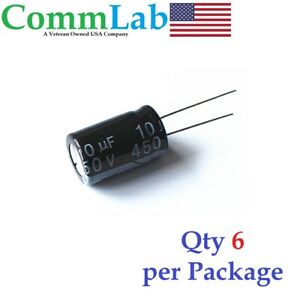 10uf 450v Electrolytic Radial Lead Capacitor 6 Pieces