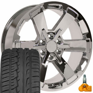 Chrome 22 5662 Wheels Tires Tpms Set Fit Silverado Tahoe Yukon Sierra