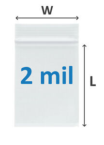 Clear Reclosable Ziplock Poly Bags 2 Mil Plastic Ziptop Polybags 47 Sizes