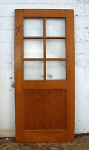 36 X83 X1 75 Vintage Antique Old Solid Wood Wooden Door 6 Window Textured Glass