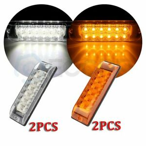 2x 12 Led 8 Inch Amber Side Signal Light For Pickup Truck Lorry Boat 2x White