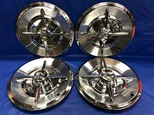 Vintage Set Of 4 1957 Dodge 14 Spinner Hubcaps Lancer Good Condition