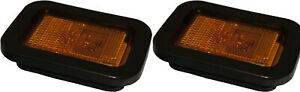 2 Amber Led Truck And Trailer Marker Clearance Lights W Grommet Mounts