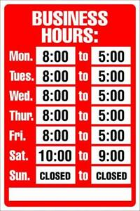 Red And White 8 X 12 Ships Free Business Hours Sign Kit Open Closed Sign Bright
