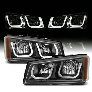 Led Tube 2003 2007 Chevy Silverado 1500 2500 3500 Avalanche Black Headlights