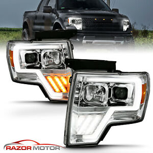 For 2009 2014 Ford F150 Switchback Led Tube Chrome Projector Headlights Conor