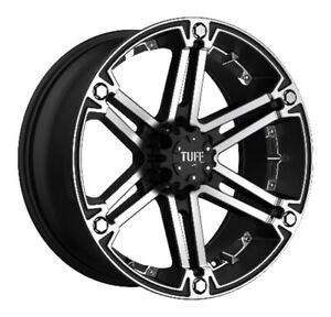 Tuff At Rims T01 Flat Black W machined Face And Chrome Inserts 20x9 5x4 5 1 Each