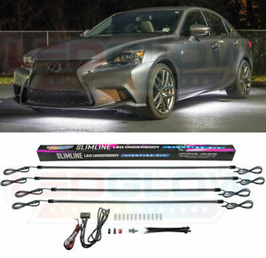 Ledglow 4pc White Slimline Led Under Car Neon Light Kit W 4 Tubes 126 Leds