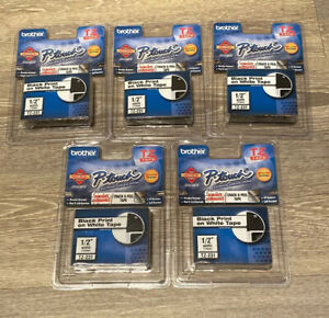 Lot Of 5 Brother P touch Tz 231 Black Print On White Tape Label Cartridge 1 2