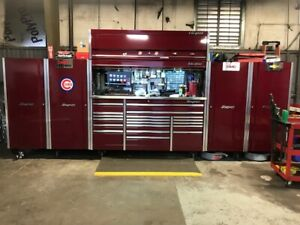 Snap On Epiq Cranberry 84 Tool Box Hutch Work Center Cabinet W 4 Side Cabinets