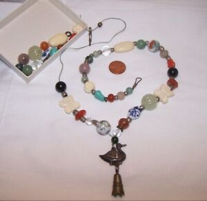 Antique Chinese Jade Court Necklace Qing Coral Hardstones Silver Duck