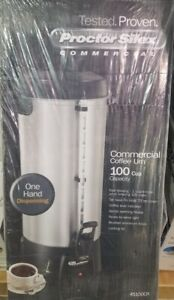 New Proctor Silex Commercial Coffee Urn 100 Cup Aluminum 45100cr