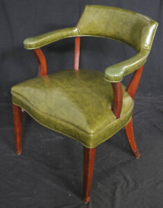 Vintage Antique Wood Wooden Office Side Lounge Arm Chair Armchair Vinyl Fabric