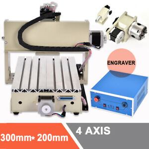 4axis Cnc 3020t Router Engraver Engraving Drilling Machine 3d Cutter 300w 220v
