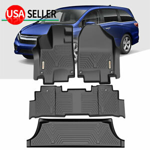 4pcs Floor Mats Rubber Liners For 18 19 20 Honda Odyssey All Weather Black Set