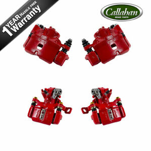 For Honda Civic Del Sol Hatchback Si Front And Rear Red Coated Calipers Pair