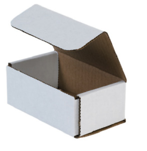Pack Of 200 Strong Corrugated Mailer 5x3x2 White Small Folding Mailing Box Light