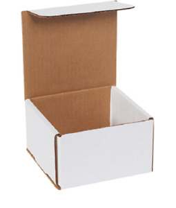 Pack Of 100 Strong Corrugated Mailer 5x5x4 White Small Folding Mailing Box Light