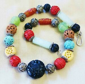 Antique Jade Chinese Carved Beads Shou Dragon Knot Collectible Necklace 18