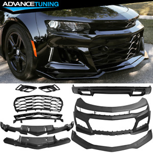 Fits 16 18 Chevy Camaro Zl1 Style Front Bumper Cover Oe Style Rear Lip Unpainted
