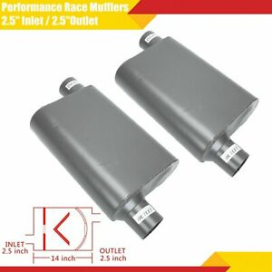 2 5 Inlet 2 5 outlet Performance Race Mufflers Weld on Pair Chambered Offset