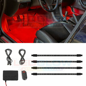Ledglow 4pc Red Neon Led Expandable Interior Footwell Underdash Lighting Kit