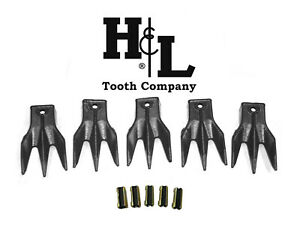 6737325 Tr3 Triple Tiger Trident Bobcat Style Bucket Teeth 5 Pack By H l Tooth