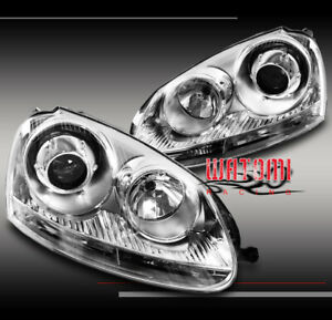 06 09 Vw Jetta Rabbit Gti Mk5 Projector Headlights Chrome 07 08 Left right Pair