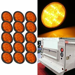 15x 6 Led Yellow Round Universal For Any 12v Cars Side Marker Turn Tail Light