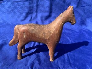 Rare 1800s Antique Primitive Americana Folk Art Hand Carved Wooden Horse Toy