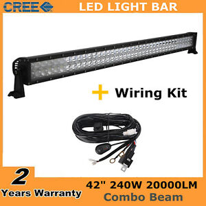 42 inch 240w Led Light Bar Offroad 4d Lens Driving Gmc Chevy Wiring Kit 40 43