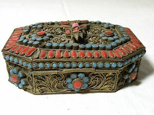 L Azz117 Antique Tibet Nepal Coral And Turquoise Gau Prayer Box Red Tara