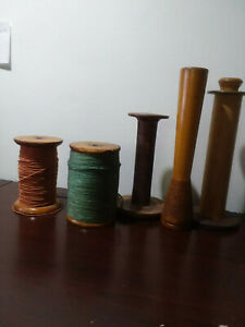 Wooden Weaving Yarn Fibre Spools Antique Vintage Lot Of 5