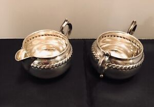 Gorham Victorian Scroll Sterling Silver Sugar Bowl 912 And Creamer 913 Vgc