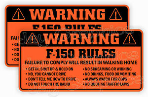 F 150 Rules Warning Stickers Funny Safety Decals Ford F150 Stx Xlt 4x4 Raptor