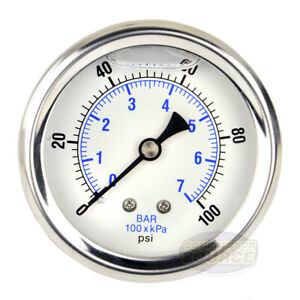 Liquid Filled 100 Psi Air Pressure Gauge Center Back Mount Mnt With 2 5 Face