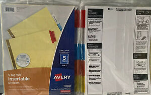 Avery Big Tab Notebook Dividers 11109 Set 3 Large Tabs Reinforced Xtra Tabs