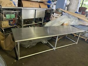 Commercial Heavy Duty 8 Ft Stainless Steel Food Service Table With Bottom Shelf