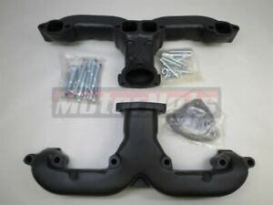 Black Ceramic Small Block Chevy Sbc 283 350 Ram Horn Exhaust Manifold Header55up