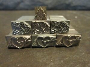 Kingsley Lot Of 7 Stamps Heart With Arrow Wedding Bells Tree Hot Foil Stamping