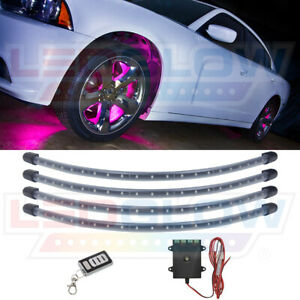 Ledglow 4pc Pink Led Neon Wheel Well Fender Lighting Kit W 24 Flexible Tubes