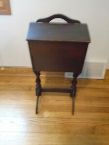 Antique Sewing Knitting Box Cabinet Stand Vintage Wood