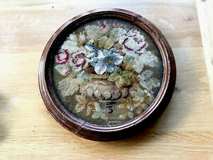 Antique Victorian Hand Embroidered Beadwork Plateau Table Top Glass Tray Display