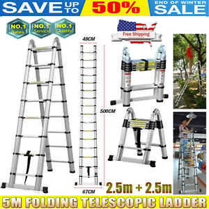 5m 16 5ft Aluminium Multi purpose Folding Telescopic Ladder Extension Step Rivet