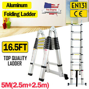 5m 16 5ft Aluminium Multipurpose Telescopic Ladder Extension 16 Step En131 Rivet