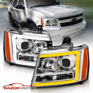 07 14 Chevy Suburban Tahoe Avalanche Chrome Led Swtichback Projector Headlights