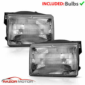 Fits 1993 1998 Jeep Grand Cherokee Clear Lens Headlights Lamps Pair Left right